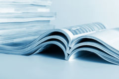 The developed. Open journals lie for viewing Stock Image