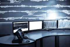 Developed electronic technology inside the railway control room Stock Photography