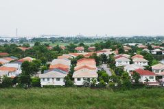Developed housing area in Bangkok, Thailand, the house`s roofs a stock photos