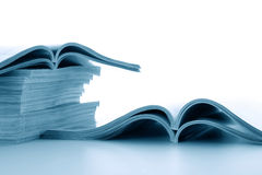 The developed journals. Open journals lie for viewing Stock Photos