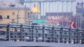 Developed transport infrastructure, cars moving on bridge, big city atmosphere. Stock footage stock video