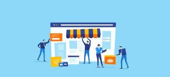 Developer and designer team create online shop Vector Illustration