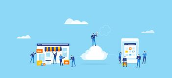 Developer and designer team create online shop and connect on cloud Royalty Free Illustration