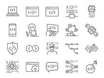Developer icon set. Included the icons as code, programmer coding, mobile app, api, node connect, flow, logic, web coder, bug fix. Vector and illustration Stock Image