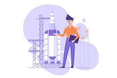 Developer presents startup project. Engineer developer presents startup project rocket for launch. Vector illustration Royalty Free Stock Photography