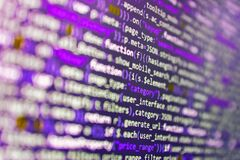 Developer software programming code. Programming code abstract background screen of software. Javascript functions, variables,