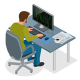 Developer Using Laptop Computer. Web Development concept. Web programming concept. Programming, coding, testing. Debugging, analyst, code developer flat Stock Images