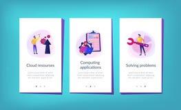 Cloud engineering app interface template. vector illustration
