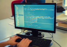 Developer Working On Source Codes On Computer At Office. Royalty Free Stock Photography