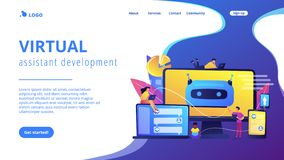 Chatbot development platformconcept landing page. stock illustration