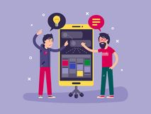 Developers discussed development of project. Application for smartphone. Vector illustration Royalty Free Stock Photo