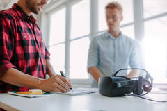 Developers testing virtual reality glasses Royalty Free Stock Image
