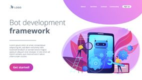 Chatbot app developmentconcept landing page. stock illustration