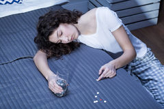 Developing addiction to sedatives Royalty Free Stock Images