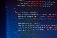 Making Css3 code in IDE, close up. Developing Css3 code in IDE, close up royalty free stock images