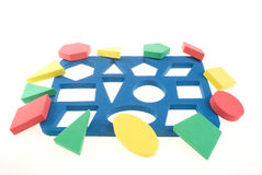 Developing game. With color geometric shapes Royalty Free Stock Photo