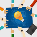 Developing idea together make plan. teamwork in business and education. bulb lamp shine with hands around it and Stock Photos