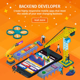 Developing mobile apDeveloping mobile applications flat 3d isometric style. Backend developer app. People working on startup. Stock Photography