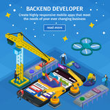 Developing mobile applications flat 3d isometric style. Backend developer app. People working on startup. Blue web design. stock images