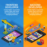 Developing mobile applications flat 3d isometric style. Vertical banners set web design. Frontend and backend app. People working on startup. 3d crane and Royalty Free Stock Images