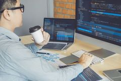 Developing programmer Development Website design and coding technologies working at software company office.  stock photos