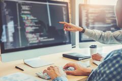 Free Developing Programmer Team Development Website Design And Coding Technologies Working In Software Company Office Stock Image - 140335451