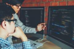 Developing programmer Team Development Website design and coding royalty free stock photos