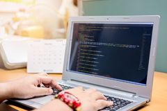 Developing programming and coding technologies on desk, Website stock images