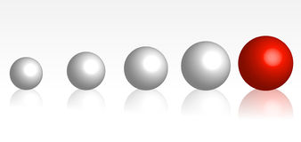 Development. An illustration showing in size increasing balls with a single big red one at the end of the row, symbolizing a development Stock Image