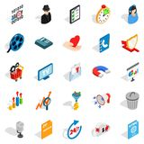 Development of ad icons set, isometric style. Development of ad icons set. Isometric set of 25 development of ad vector icons for web isolated on white Stock Photography