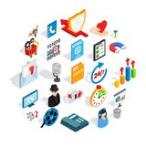Development of ad icons set, isometric style. Development of ad icons set. Isometric set of 25 development of ad vector icons for web isolated on white Royalty Free Stock Photos