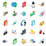 Development of advertising icons set, isometric style. Development of advertising icons set. Isometric set of 25 development of advertising vector icons for web Royalty Free Stock Photography