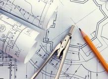Development of architectural blueprints Stock Images