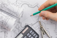 Development of architectural blueprints Royalty Free Stock Image