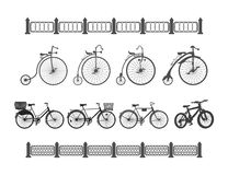 The development of the bicycle from the ancient to the modern Royalty Free Stock Images