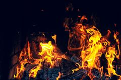 Developing flames in the furnace royalty free stock photo