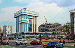 Development of city infrastructure in Africa. Royalty Free Stock Images