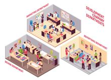 Development Company Departments Set. Set of isometric coworking spaces of development company with employees working  in design marketing and advertising Stock Images