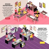 Development Company Isometric Banners. Development company horizontal banners with staff working in design and marketing departments isometric vector Royalty Free Stock Images