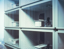 Development concept. Abstract small container offices in daylight. Development concept. 3D Rendering stock illustration