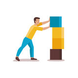 Development concept. Vector male character illustration in flat style - man building abstract structure from blocks - development concept Stock Photo