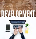 Development concepts idea with male using computer laptop. /top view Stock Photography