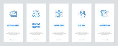 Development, Creative research, Share ideas, Big idea, Inspiration Vertical Cards with strong metaphors. Template for website design Royalty Free Stock Images
