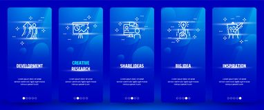 Development, Creative research, Share ideas, Big idea, Inspiration Vertical Cards with strong metaphors. Template for website design Stock Photos