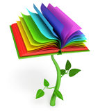 Development of education. Magic book. Fairy tale. White background. 3d render Stock Photography
