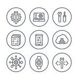 Development, engineering, configuration line icons Stock Images