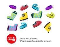 Development game of attention and concentration for children. Find same pair of shoes, identify superfluous shoes. Use. Exercise to teach children in royalty free illustration