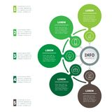 The development and growth of the business. Time line of farming. Trends. Business concept with 5 options, parts, steps or processes. Timeline infographics Stock Image