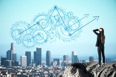 Development and growth concept. Thoughtful young businesswoman on cliff looking at abstract gear and arrows sketch. City background. Development and growth stock photos