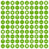 100 development icons hexagon green. 100 development icons set in green hexagon isolated vector illustration stock illustration